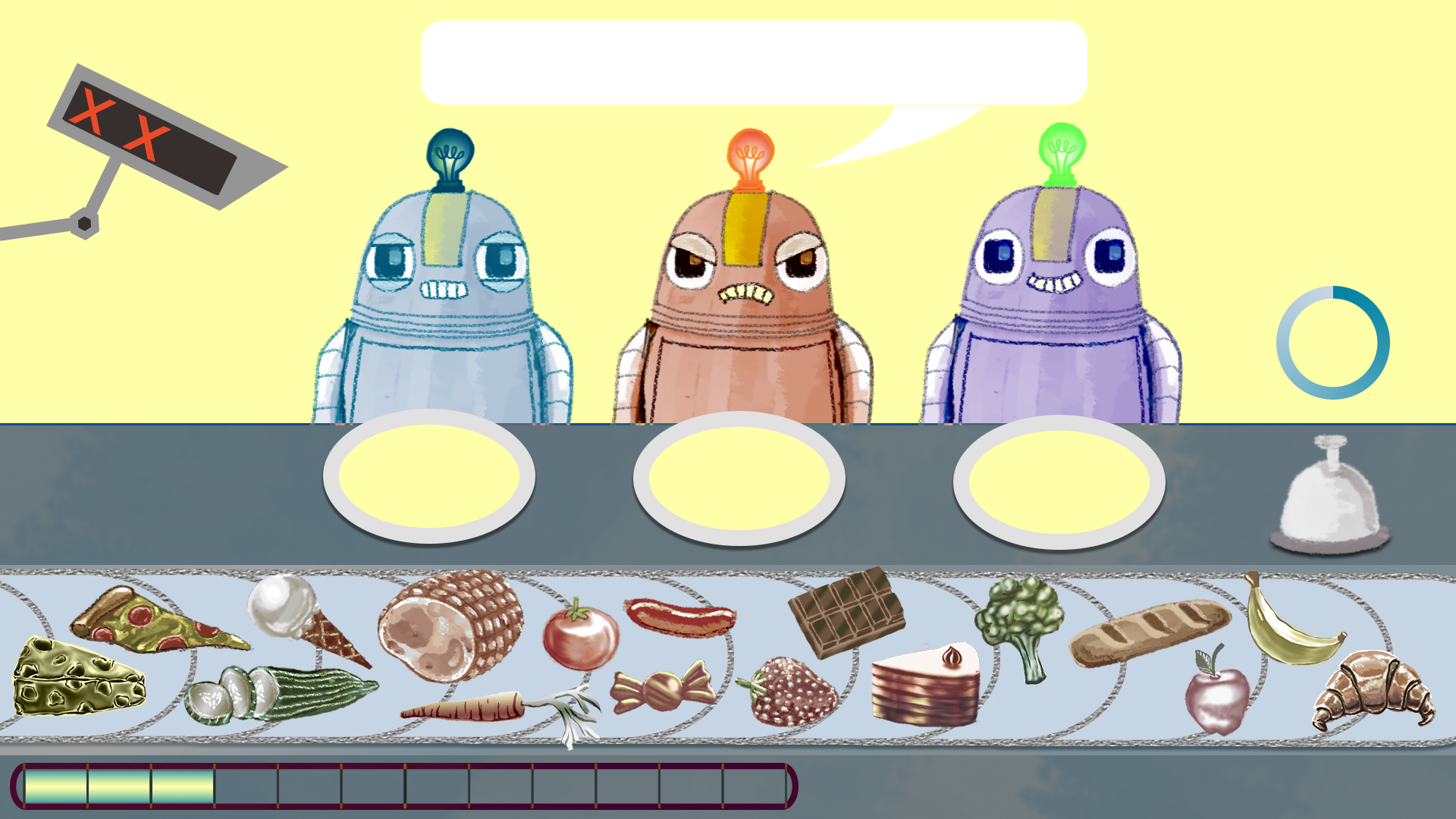 Gaming Grammar screenshot of three robots looking at a conveyor belt filled with different food items