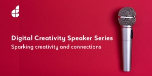 Digital Creativity Speaker Series text on a bright pink background with a cordless silver microphone positioned to the right hand side of the image