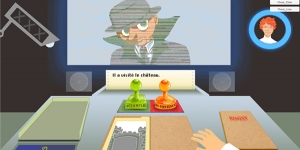 Screen shot of Gaming Grammar showing a cartoon detective