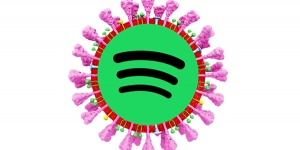 A coronavirus 'cell' with the Spotify logo inside