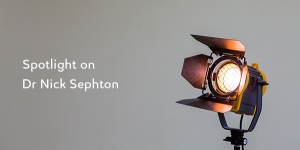 Photo of a spotlight and text reading 'Spotlight on Dr Nick Sephton'