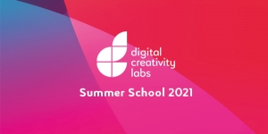 Text 'Summer School 2021' and Digital Creativity Labs logo on a pink background