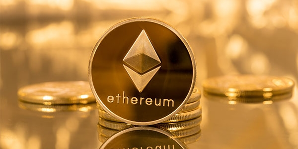 Ethereum cryptocurrency gold coin