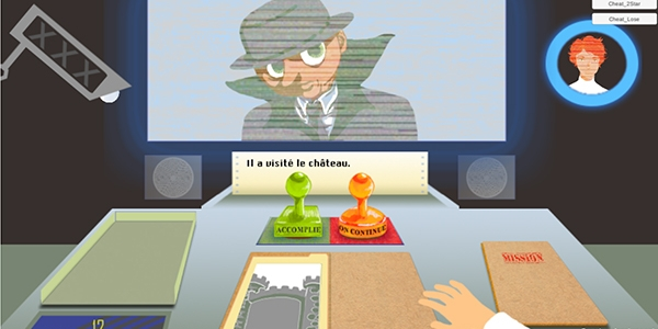 Screen shot of Gaming Grammar showing a cartoon detective