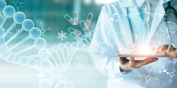 Doctor touching electronic medical record on tablet. DNA. Digital healthcare and network connection on hologram modern virtual screen interface, medical technology and network concept.