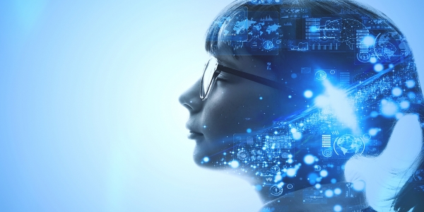 Young woman wearing glasses facing left with graphics representing digital technology displayed around her head