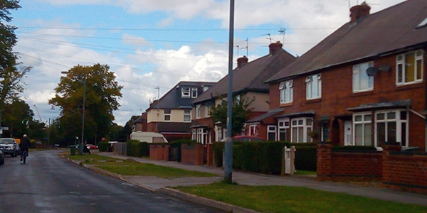 A street in Tang Hall, a suburb of York, a city in the United Kingdom