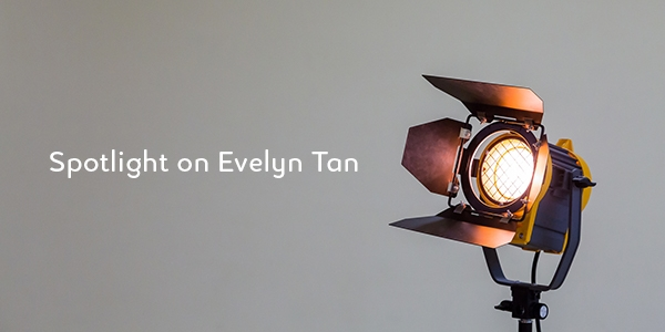 Photo of a spotlight and text reading 'Spotlight on Evelyn Tan'