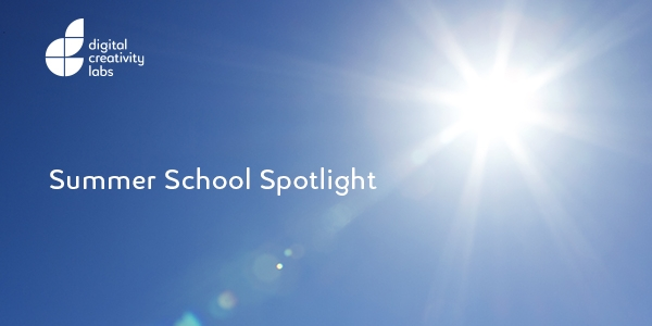 Bright white sun on a vivid blue sky and the words 'summer school spotlight'