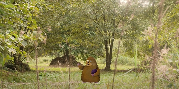 App character, Vernon vole super imposed onto an image of Askham Bog